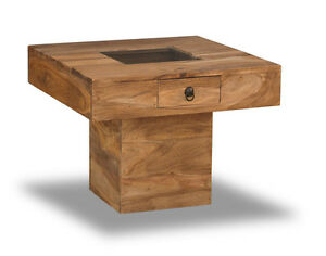 SMALL SHEESHAM  NATURAL PEBBLE COFFEE TABLE WITH DETAILING (J25N)