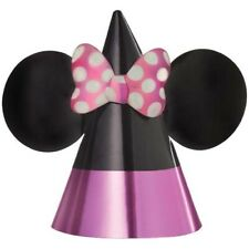MINNIE MOUSE Forever PAPER CONE HATS (8) ~ Birthday Party Supplies Favors Foil
