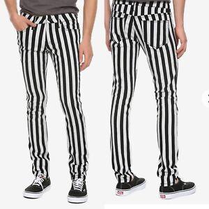 NWT Men's Hot Topic 32X32 Skinny Jeans Black White Vertical Stripe