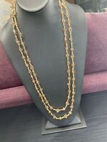 Vintage Citrine Glass Crystal Extra Long Hand Woven Boho Beaded Necklace 60""