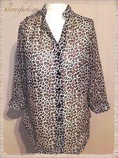 ✨🐆JUSTIN NJ Animal Print Leopard Chiffon Blouse Size UK 12 EU 40 US 8 FAST📮🐆✨