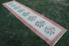 "Vintage Handmade Turkish Oushak Red Kitchen Runner Rug Carpet 139""x33"""