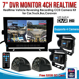"""7"""" Quad Monitor DVR SD Recorder Side Rear View Backup Camera System For Truck RV"""