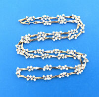 """Vintage Small Faux Pearl Cluster Link Chain Necklace Gold Tone 8 mm 30"""""""