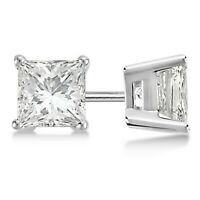 1 ct. Princess White Sapphire Stud Earrings in 14k White Gold/Sterling Silver