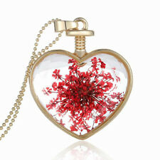 Romantic Heart Pink Red Shy Dried Flowers Perfume Bottle Pendant Necklace N380