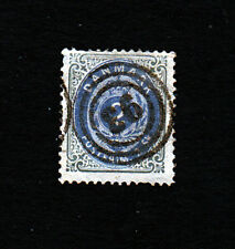 Denmark #16 2 Skilling, Perf 14 x 13.5 Used, 3-ring Numeral cancel.... #799a1