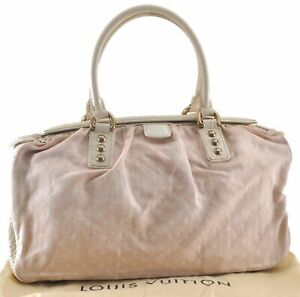 Louis Vuitton Monogram Mini Lin Trapeze GM Hand Bag Rose Pink M40064 LV C0461