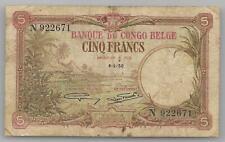 Belgian Congo  5 francs 1930