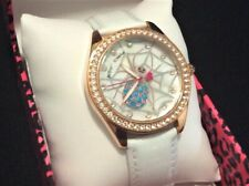 Nib Betsey Johnson Spider Web Watch Rose Gold White Leather Band Crystals $95