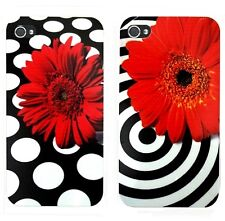 "►► Coque ""Flower"" Iphone  4 ou 5 - Fleur marguerite - cercle / pois (Art Cover)"