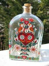 Hand Painted Glass Oil Vinegar Liquid Bottle with cork