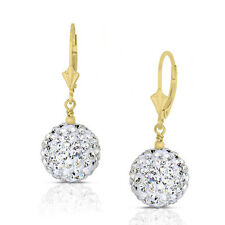 14k Yellow Gold 6mm Crystal Pave Accent Disco Ball Drop  Leaverback Earrings