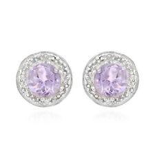 Lovely Stud Earrings W/Genuine Diamond & Amethyst in 925 Sterling silver