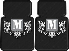 2PC BLACK PERSONALIZED CAR FLOOR MATS WITH MONOGRAM NEW