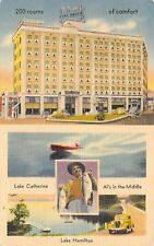 Hot Springs AR Hotel Como~Al's in the Middle~Speed Boat on Lake Catherine c1940