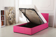 Boston Hot Pink 3ft Single Deep Ottoman Leather Storage Gas Lift Up Bed Strong