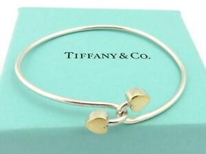 TIFFANY & CO Sterling Silver 18K Gold Double Heart Bangle Bracelet