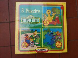 Sesame Street 3 Puzzle Set Jim Henson Productions  Spear's Games 1996 New