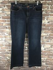 Talbots Womens Jeans Size 12 Flare Flawless 5 Pocket Petites Dark Wash Stretch