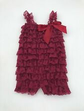 Baby Lace Ruffle Romper 6/9 Months Burgandy