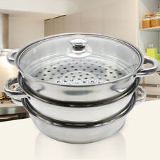 3 Tier Kitchen Stainless Steel Steamer Cooker Vegetable Meat Cooking Safety US