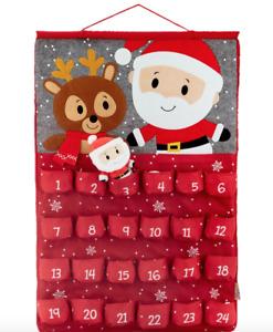 Hallmark Itty Bittys / Bitty  Santa & Reindeer Advent Wall Calendar w/ Pockets !