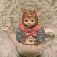 Otagiri Figural Cat Teapot Porcelain Ceramic Hand Painted Japan Vintage Fairytal