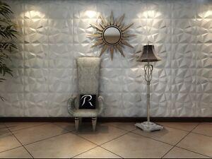Eco-friendly ! Paintable, 3m2 DIY 3D Wall Panels, glue on wall tiles, Diamond