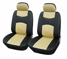 PU Leather 2 Car Seat Cover Compatible to Jeep 859 Black/Tan