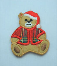 CHRISTMAS XMAS TARTAN TEDDY Embroidered Iron Sew On Cloth Patch Badge  APPLIQUE