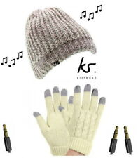 KITSOUND Chunky Knit Audio Beanie Built in Headphones & Gloves for iPod iPhone