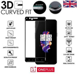 For OnePlus 5 Full Cover 3D Curved Tempered Glass 9H Screen Protector Black