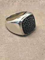 1.25ct Black Diamonds Men's Signet Pinky Ring Size Solid Sterling Silver