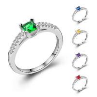 Mode Damen Mädchen Zirkon Sapphire Versilbert Ehering Finger Ring Größe 5-10 LP
