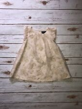 GAP Baby Girl Lace Gold Dress Floral Formal Wedding Size 18-24 Months