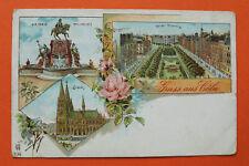 Litho AK Gruss aus Cöln Köln 1900 Kaiser Wilhelmring Dom Denkmal Straße  NRW 11