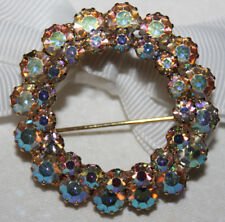 BEAUTIFUL HIGH END UNSIGNED VINTAGE 2 ROW CIRCLE PIN WITH STUNNING AB STONES