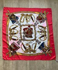 Vintage Hermes  Paris Grand Uniforme Joachim Metz Silk Scarf Pink Flawed Silk