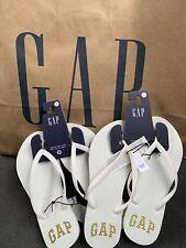 NWT GAP Womens Flip Flops White with Gold Logo US Size 8 Original GAP