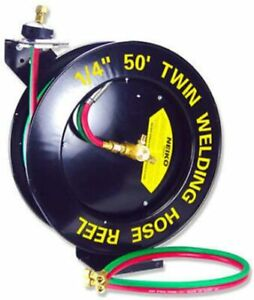 OXYGEN ACETYLENR WALL TORCH WELDING HOSE REEL 50FT 1/4''  AUTO REWING RETRACABLE
