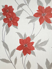 Spring Red Metallic Silver Grey Glitter Leaf Floral Feature Wallpaper Erismann