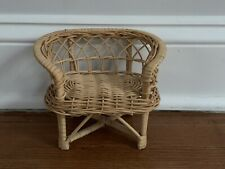Vintage Doll Or Bear Rattan Wicker Woven furniture chair/loveseat