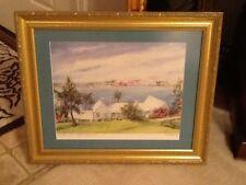 """C. Hamilton """"Paget, Bermuda"""" signed framed & matted art print gold frame"""