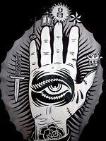 REBEL 8 Eight Men's Black Jacket graffiti inner Hood  sz M Medium