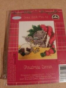 DMC FESTIVE CHRISTMAS COUNTED CROSS STITCH MINI KIT - CHRISTMAS DINNER BL1104B