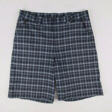 UNDER ARMOUR Black Gray White Plaid Shorts Flat Front Golf Sz 34