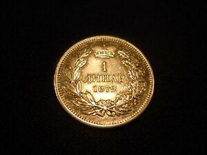 SERBIA 1 DINAR 1879  VF & XF SILVER