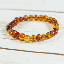 Genuine Natural Baltic Amber Bracelet Beads Brown Cognac Rubber String Universal