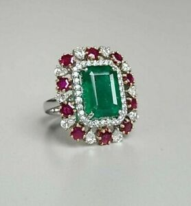 Green Emerald 925 Sterling Silver Round Halo Style Red Diamond Ring for Women